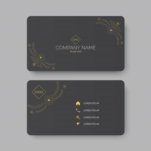 simple black business card with golden floral design