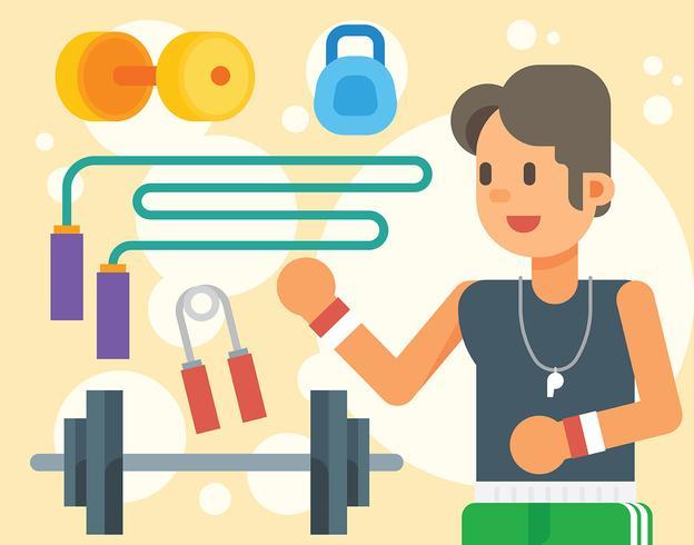 Stijlvolle Fitness Trainer Illustratie