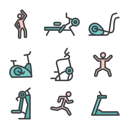 Set Of Fitness Machines And Exercises