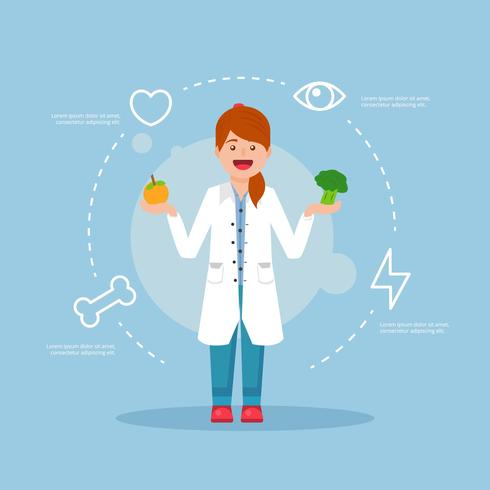 Cheerful Nutritionist Vector Illustration