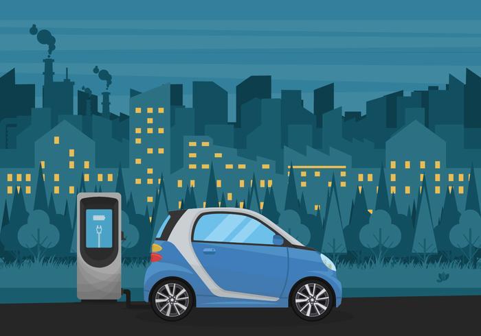 Carro elétrico com ilustração vetorial da cidade noturna
