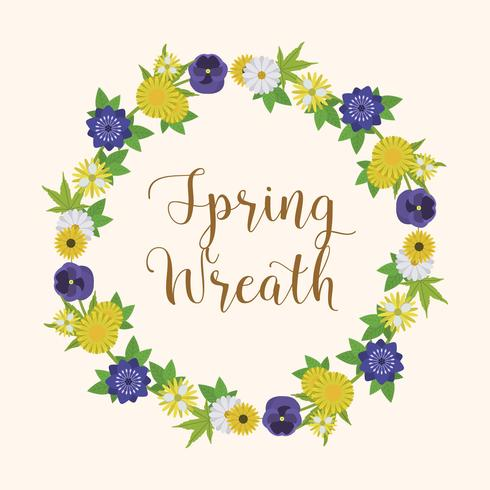 Flacher Blumenfrühling Wreath Vector Illustration