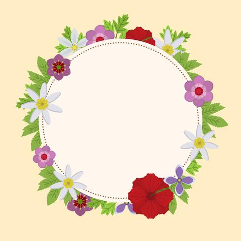 Flat Circle Floral Spring Wreath Vector Illustration