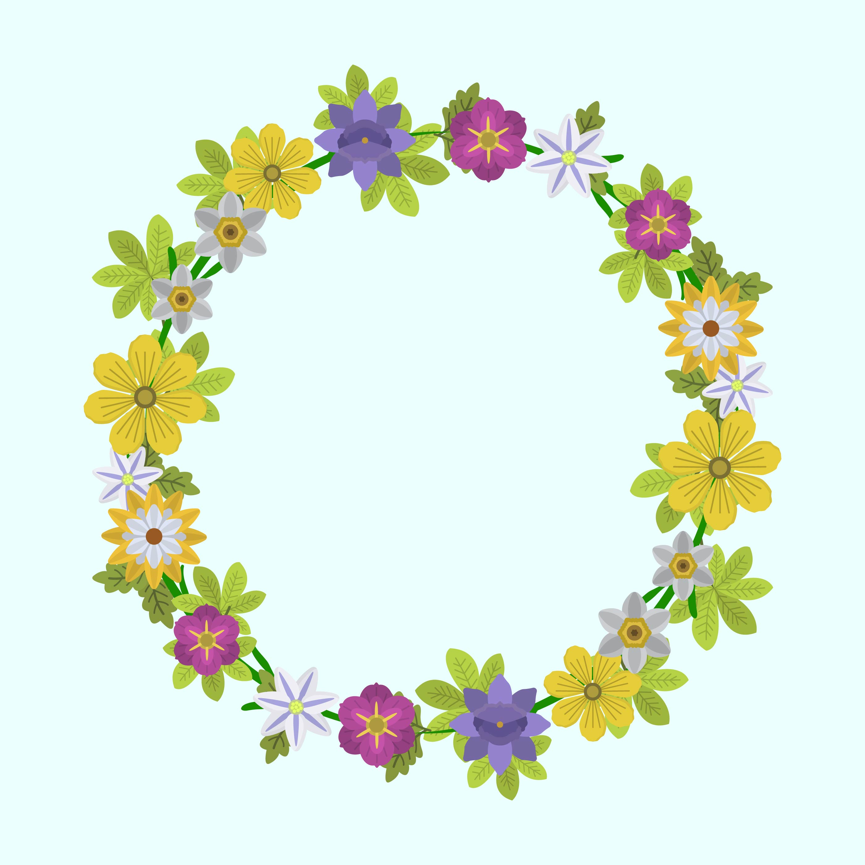 Floral Wreath Free Vector Art