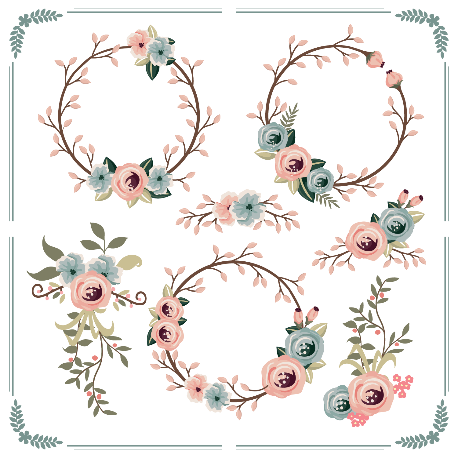 Floral Wreath Free Vector Art 12337 Free Downloads