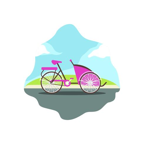 Trishaw flat vector illustration
