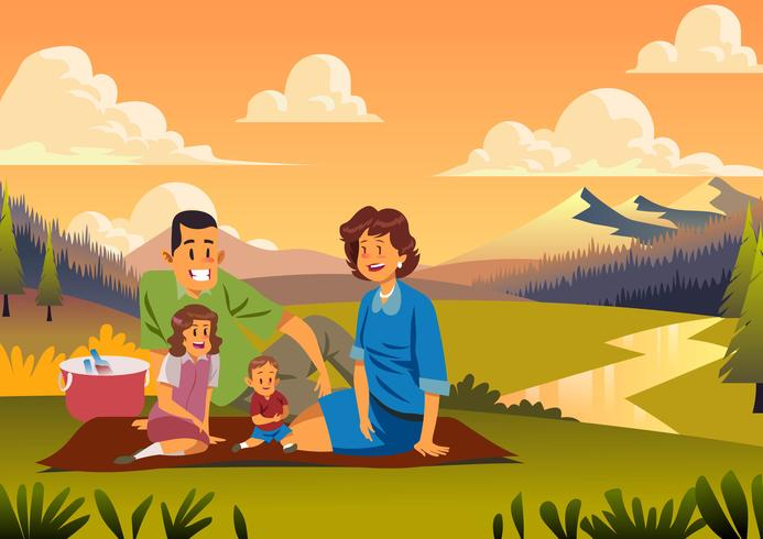 50er Jahre Familienpicknick