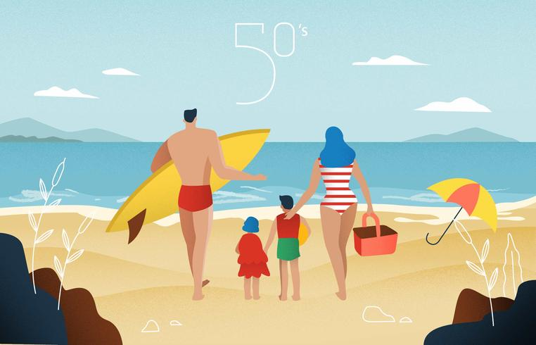 Vintage Family Picnic At Beach Vector Illustration