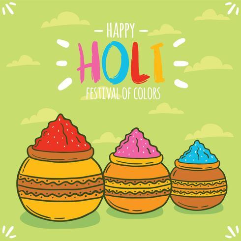 Vecteur Festival Holi dessiné à la main