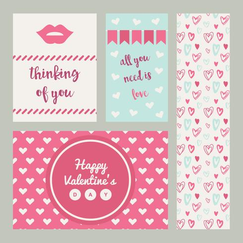 Set Of Pink And Blue Valentine Cards