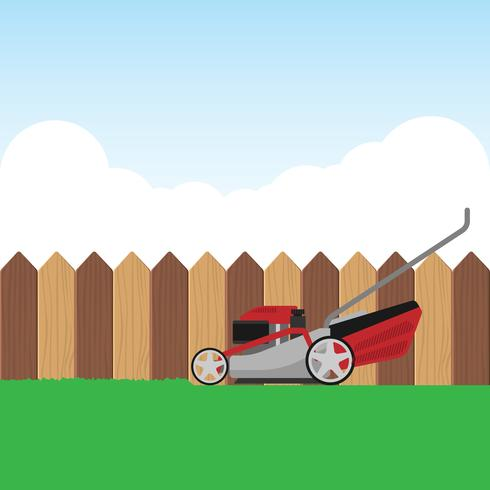 Red Lawn Mower With Grass And Blue Sky Illustration