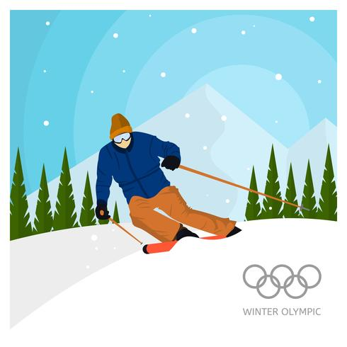 Flat Ski Winter Olympics Korea Vector Illustration