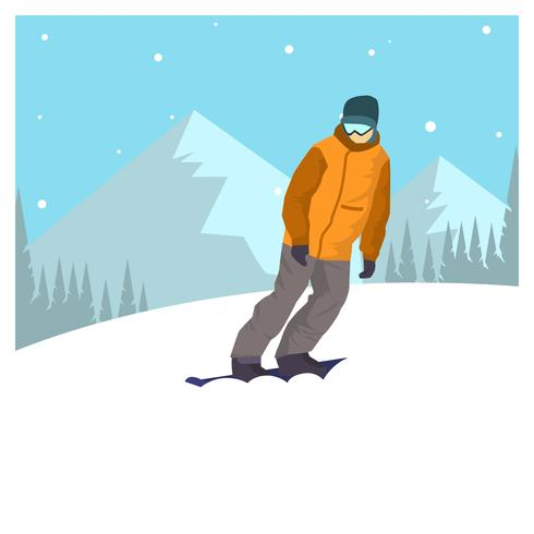 Flat Snowboarding Winter Olympics Korea Vector Illustration