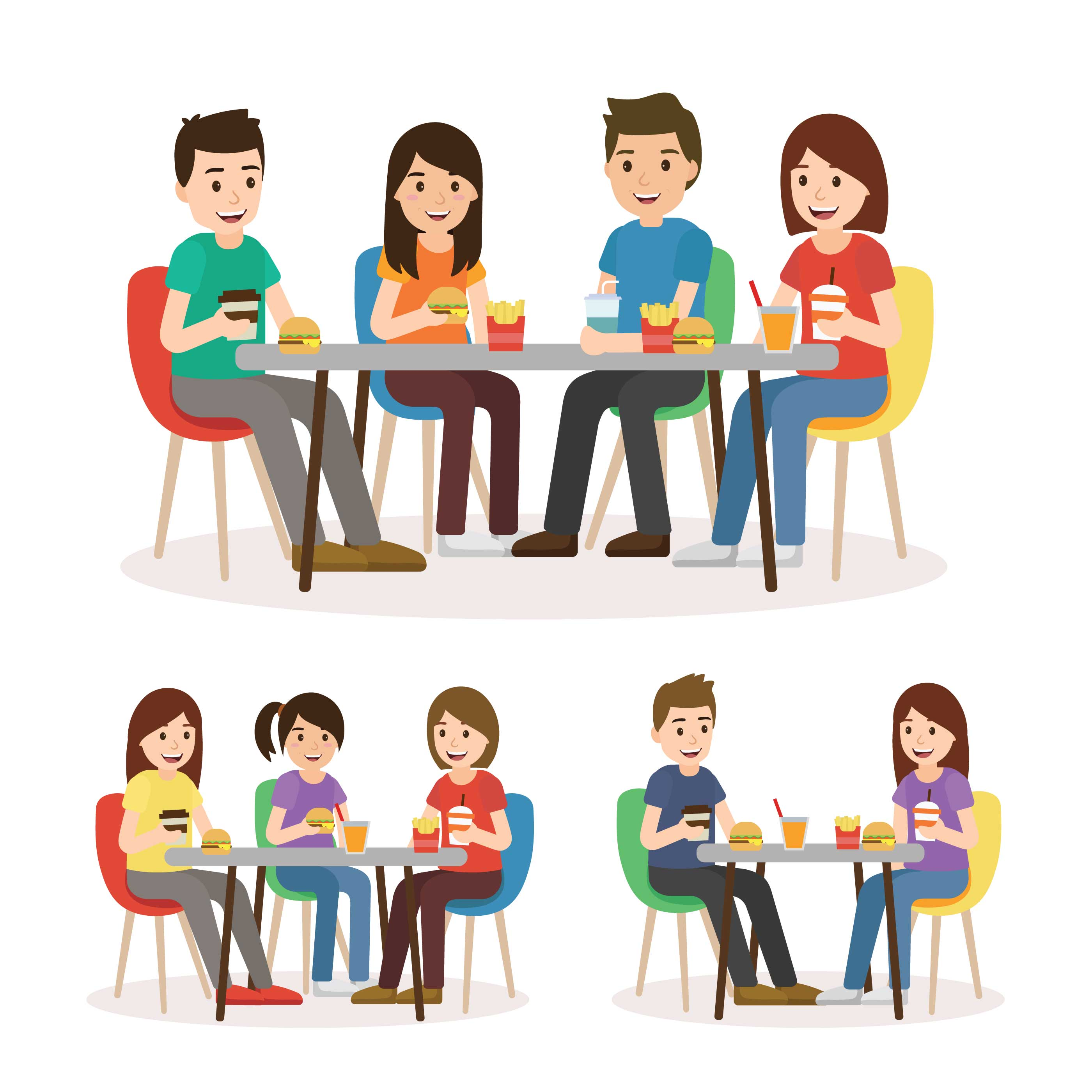 People Eating In A Food Court - Download Free Vectors ...