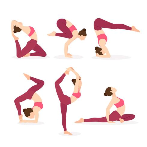 Yoga Instructor Exercising Different Yoga Poses - Download Free Vector Art, Stock Graphics & Images