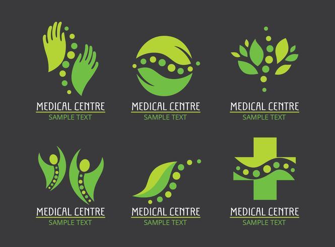 Vector de logotipos de curación verde