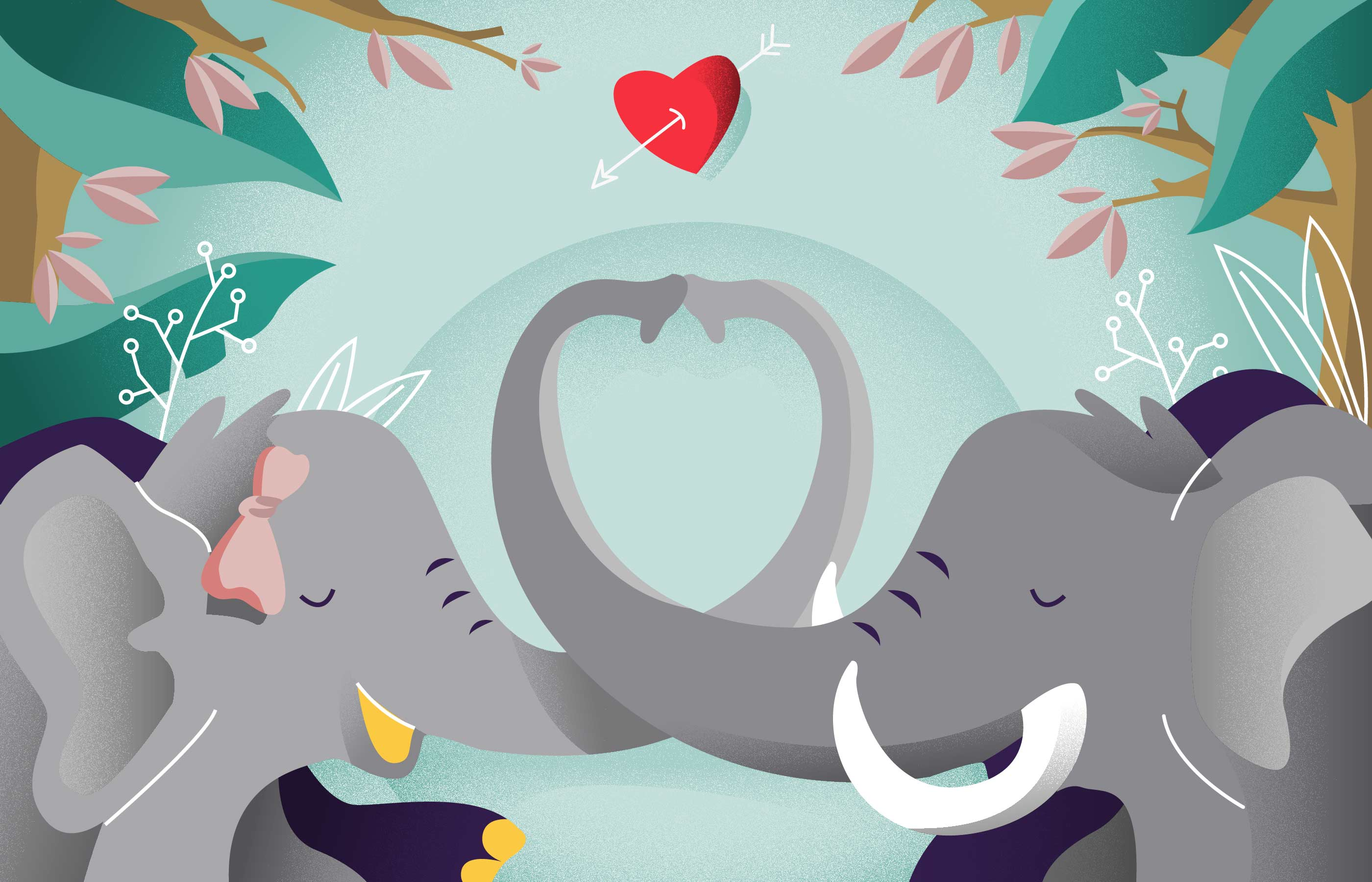 Elephant In Love Romance Background Vector Illustration ...