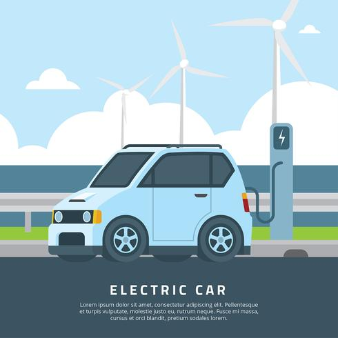 Electric Car Sea Vector