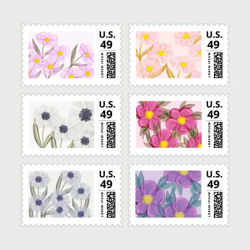 Vector Set of Springtime Postage Stamps