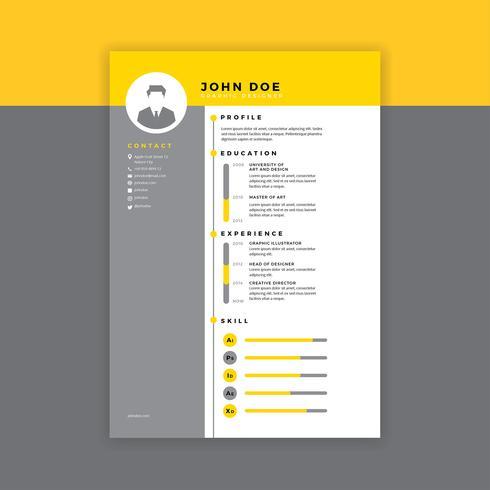 Grafische ontwerper hervatten gele vector