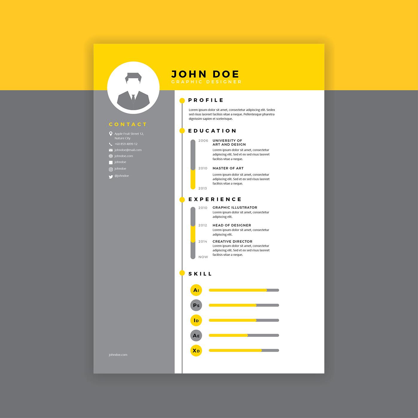 Diseñador gráfico curriculum vitae Vector amarillo - Descargue ...