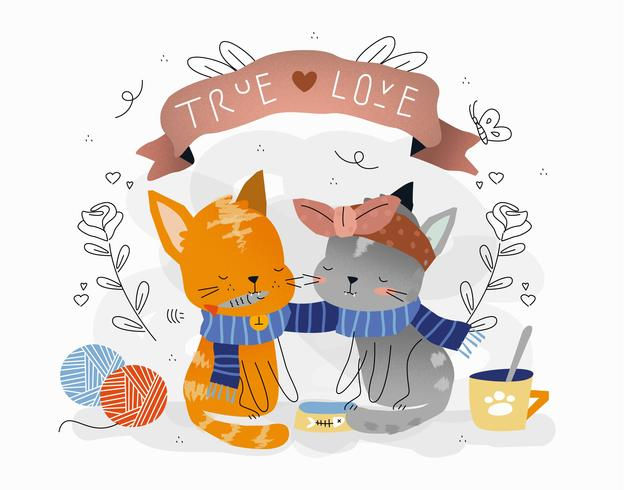 Cat Cute True Love Couple Vector Illustration