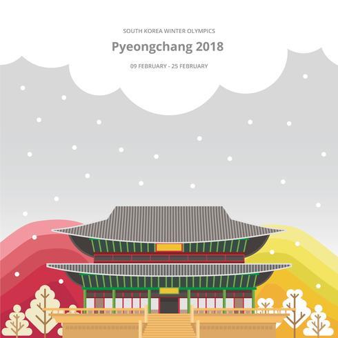 Winterspelen Korea Illustratie. PyeongChang 2018 Tagline Concept