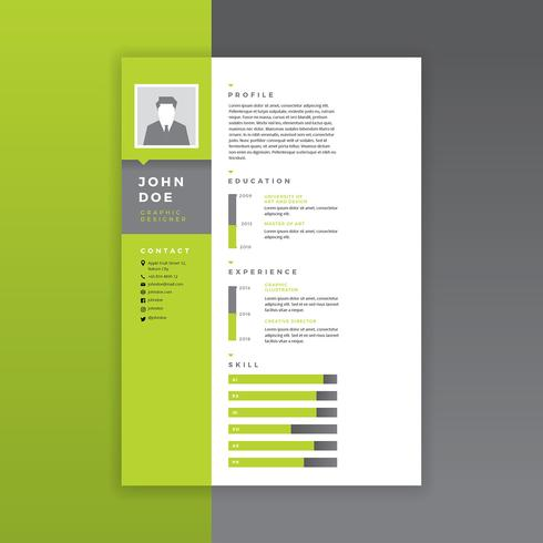 Graphic Designer Resume Green Vector  Download Free Vector Art