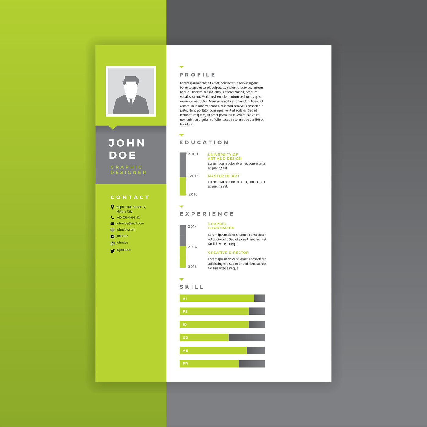 graphic designer resume green vector