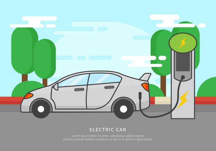 Free Electric Car Charging Vector Illustration