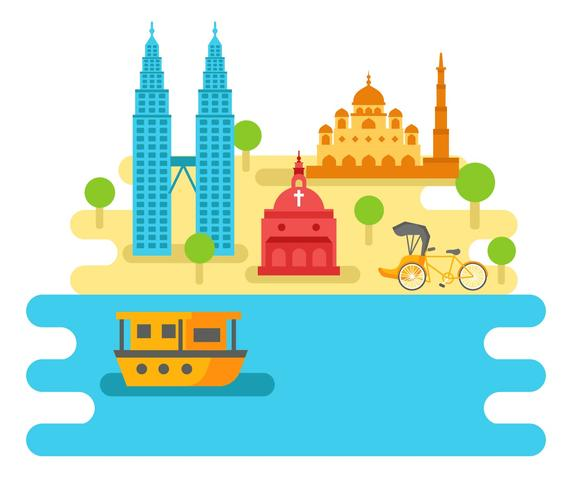 Malaysia Attraction and Travel Vector