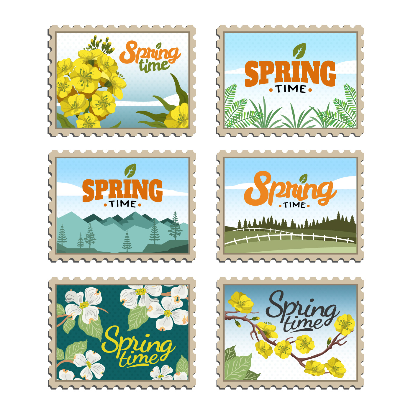 Springtime Postage Stamps Vector Collection - Download ...