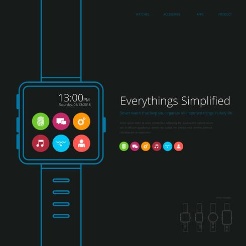 Smart Watch Application Parts Advertising Template