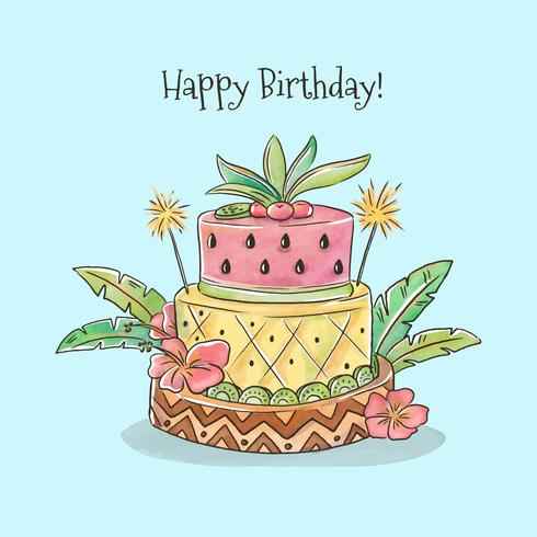 Terrific Cute Birthday Cake With Tropical Style Vector Download Free Funny Birthday Cards Online Overcheapnameinfo