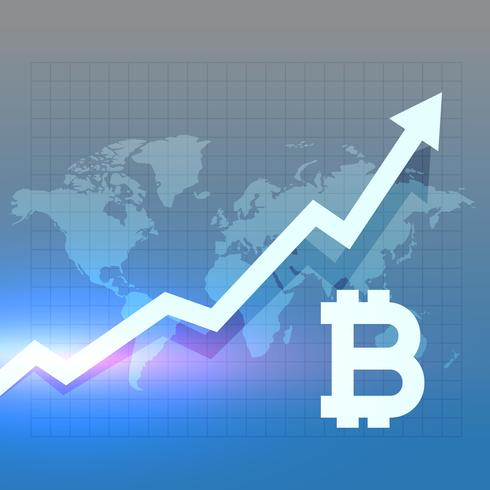 bitcoing growth chart vector design