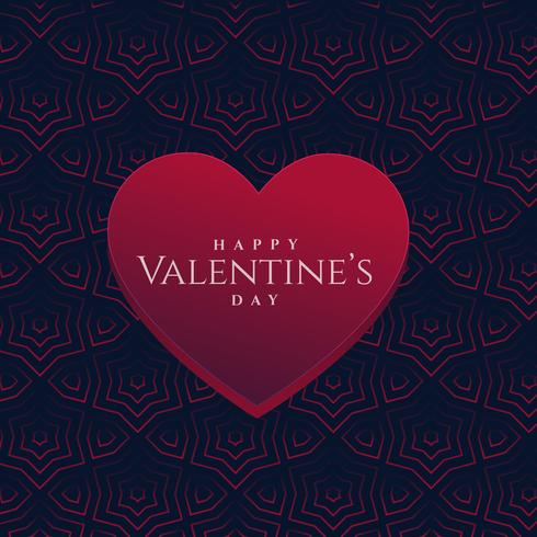 3d valentine's day heart on dark pattern background
