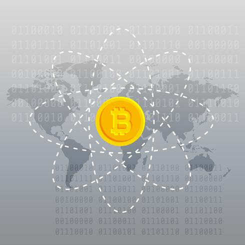 gray background with bitcoin and world map