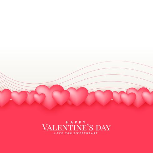 beautiful valentine's day greeting design with 3d hearts