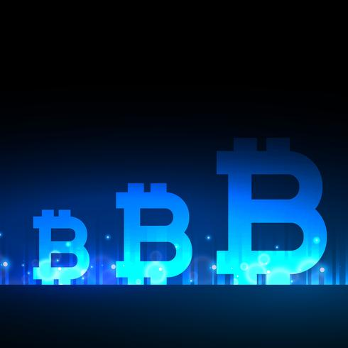 creative bitcoins design with blue light effect