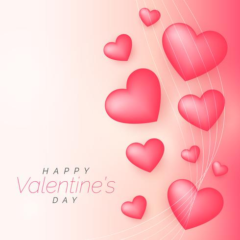 beautiful pink valentine's day background with 3d hearts