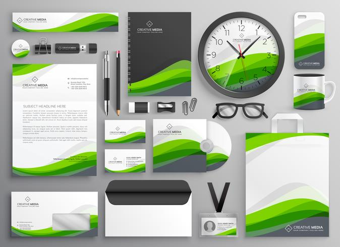 green wavy business stationery set template design for your bran