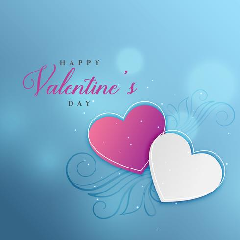 blue bokeh background with two floral hearts decoration