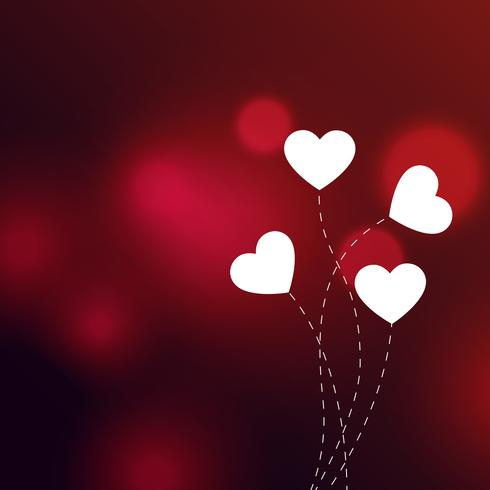 elegant hearts on red bokeh background