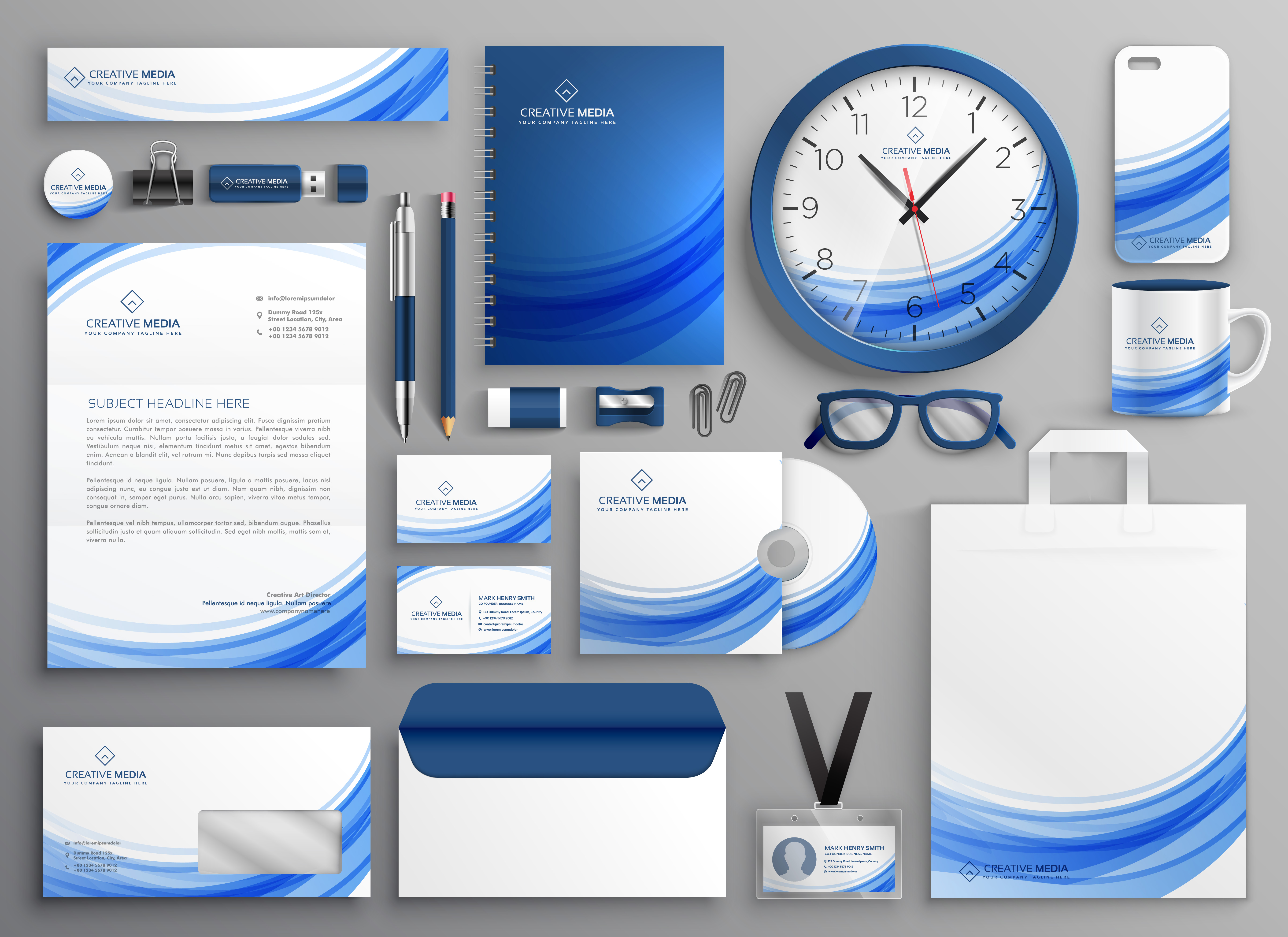 nd-identity-business-stationery-set-in-blue-wavy-shape-vector Letter Template On Head on acenda health, trellis company, professional media, academy hospitality tourism, my family twitter, it department,