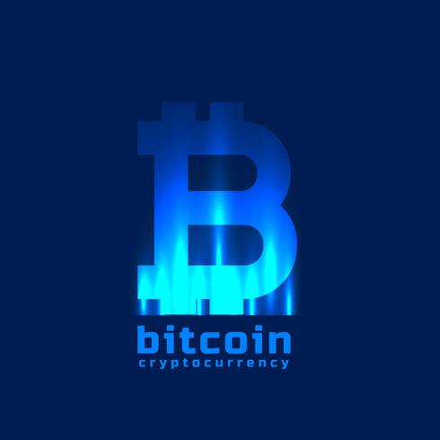 digital bitcoins symbol with light effect