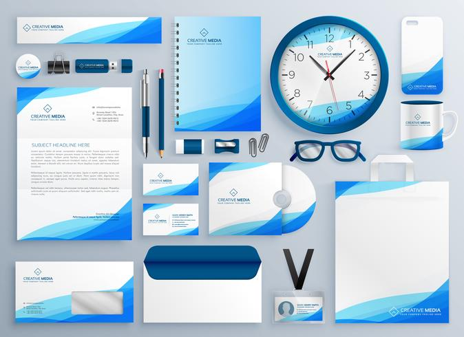 modern blue business stationery vector template set download free
