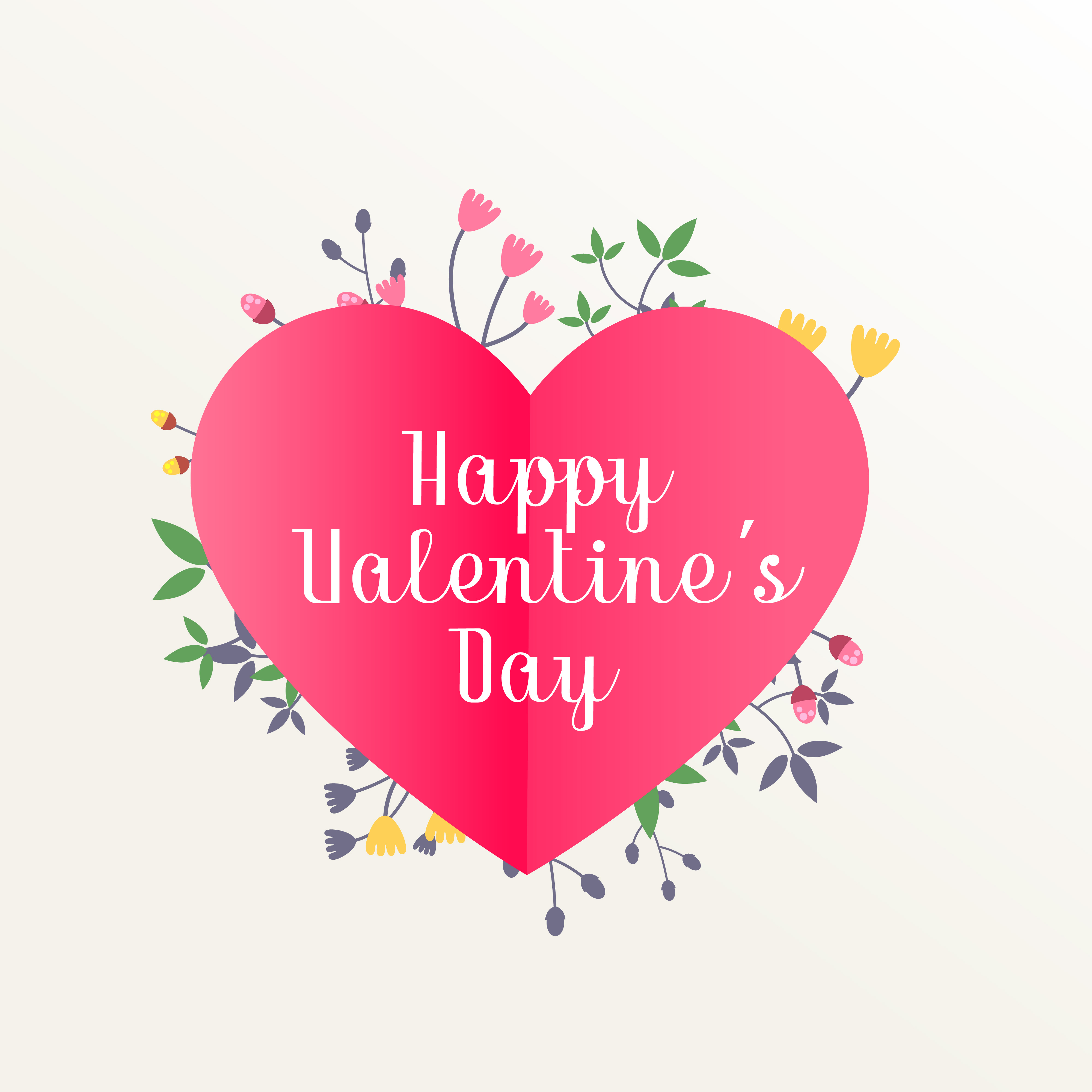 Happy Valentines Day Beautiful Background With Flowers Decorati
