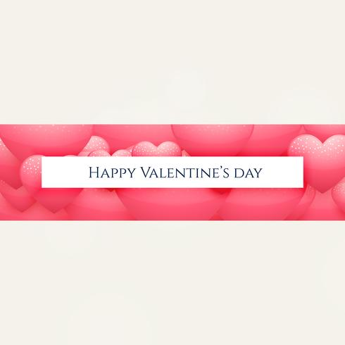 happy valentine's day banner design with pink heart shapes