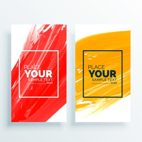 red and yellow abstract banners set background