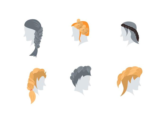 Girl Hair Style Collection Vectors